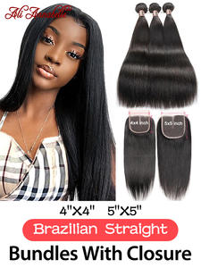 HAIR Closure Brazilian-Hair Ali Annabelle Straight with 100%Remy Human-Hair-Bundles
