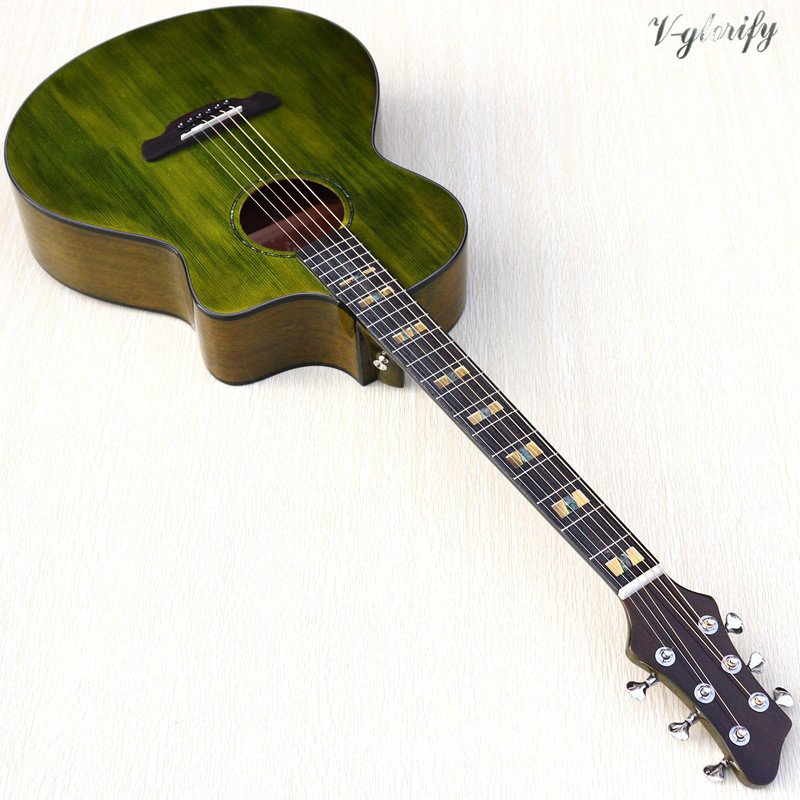 Solid Wood Spruce Top 41 Inch Green Color Orange Color Acoustic  Guitar High Gloss Cutway 6 String Folk Guitar 2020 New Arrival