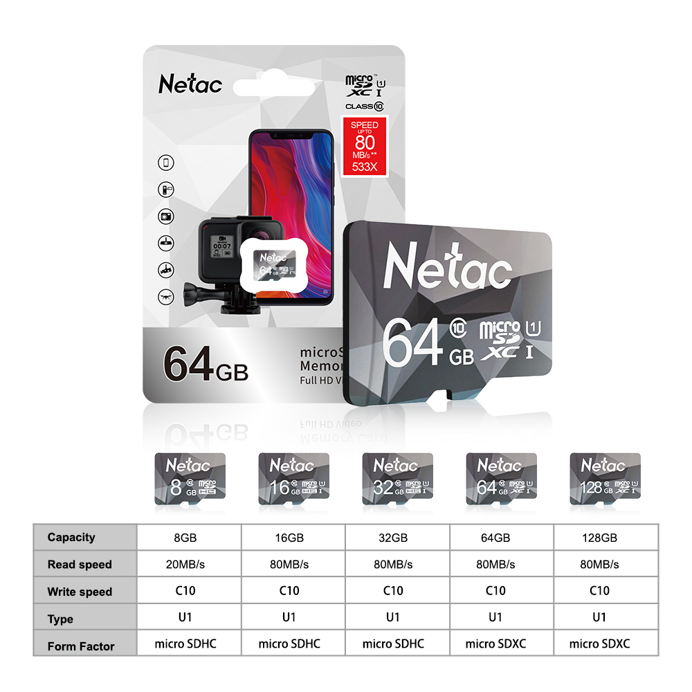 Netac Original Class10 Micro SD Smart TF Card 64GB 128GB 32GB 16GB 8GB U1 Memory Card Flash Card Mini Microsd TF/SD for Phone 6