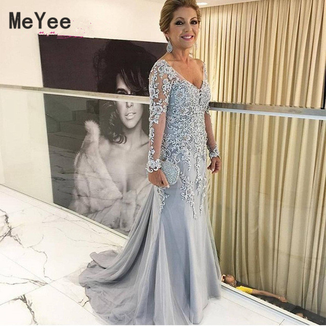 Silver Mother Of The Bride Dresses V Neck Long Sleeves Lace Appliques Mermaid Evening Prom Dress Wedding Party Guest Gowns