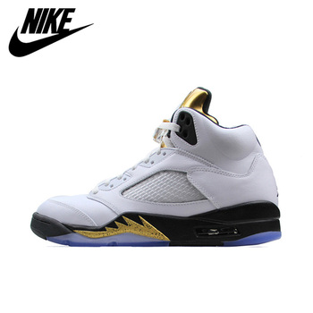цена на Nike Air Jordan 5 Retro AJ 5 Men's Breathable New Arrival Official Basketball Shoes Sports Sneakers 136027-133