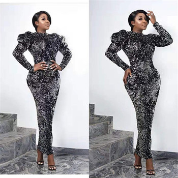 High Neck Long Sleeves Dark Grey Sequin Pencil Dress Tea Length Evening Gown grey ripped details round neck long sleeves blouses