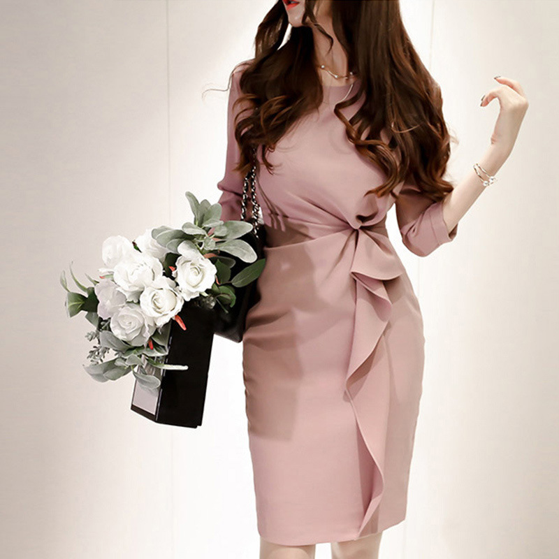 WOMEN'S Dress 2018 New Style Pink Flounced Debutante WOMEN'S Dress Light Luxury Ol Commuting Slim Dress