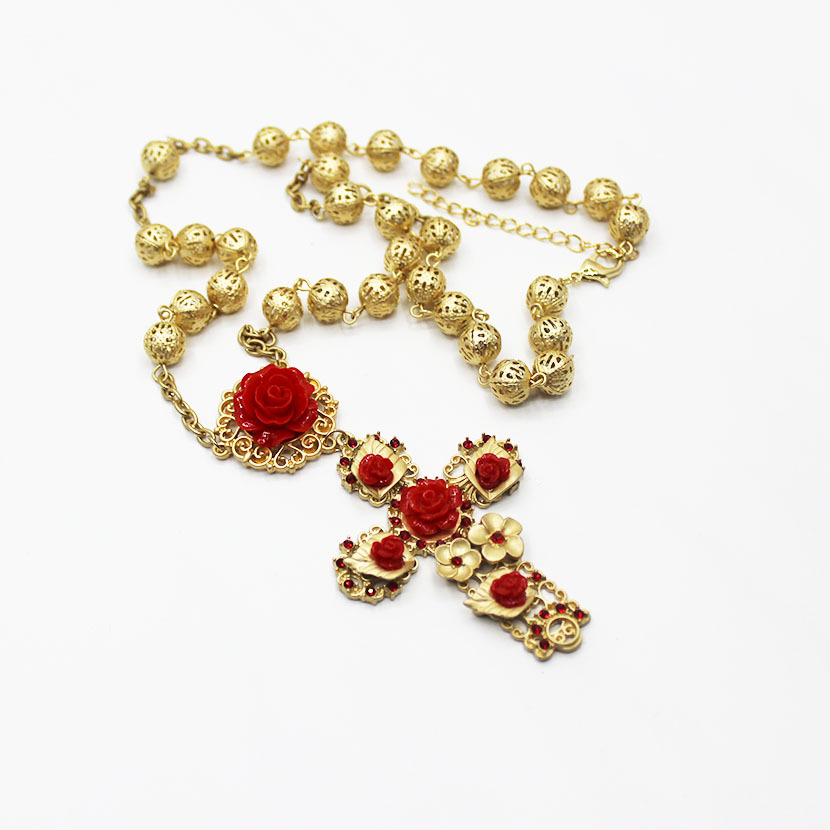 Baroque Necklace Women Rose Gold Jewellery Rosary Chain Cross Red Flower Jewelry Women Accessories Tassel Statement Earring in Chain Necklaces from Jewelry Accessories