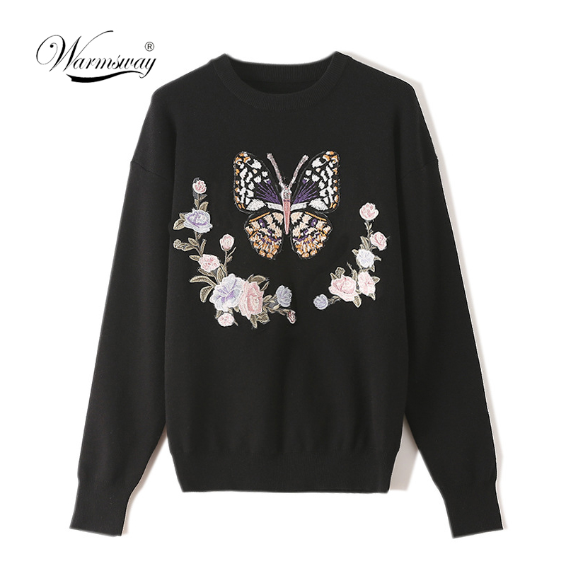 Warmsway Black Pullover Sweater For Women Winter Female Knitted Tops Long Sleeve Butterfly Floral Knitting Clothes  C-071