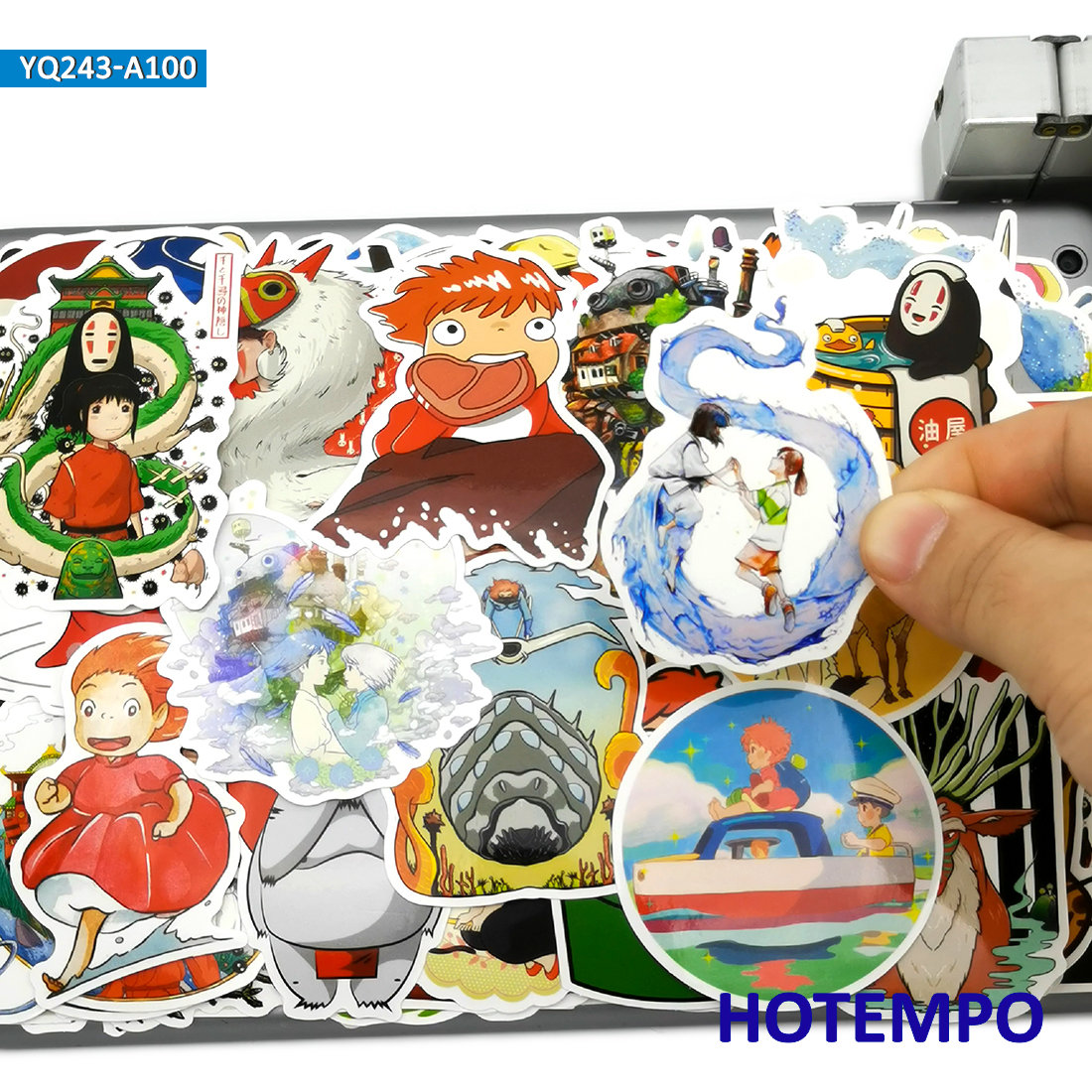 100pcs Manga Miyazaki Hayao Classic Cute Anime Movie Stickers Toy For Kid Mobile Phone Laptop Luggage Skateboard Cartoon Sticker