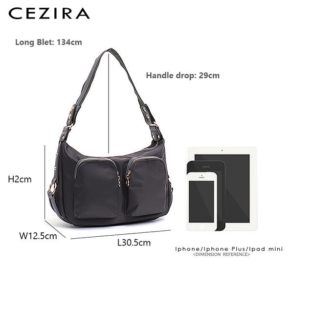 CEZIRA 2019 New Women Nylon Handbag Ladies Fashion Vegan Leather Hobo Multi Zip Pockets Shoulder Bag Femal Functional Cross body