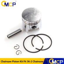 1 takım 36mm testere Piston kiti Piston halka Pin kiti Fit için 36 2 zincirli testere yedek parça silindirli Piston seti