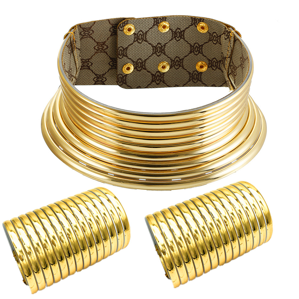 Liffly African Necklace Jewelry Sets Exaggerated Choker Necklace Two-hand Bracelet Ethiopian Women Wedding Party Set Jewelry