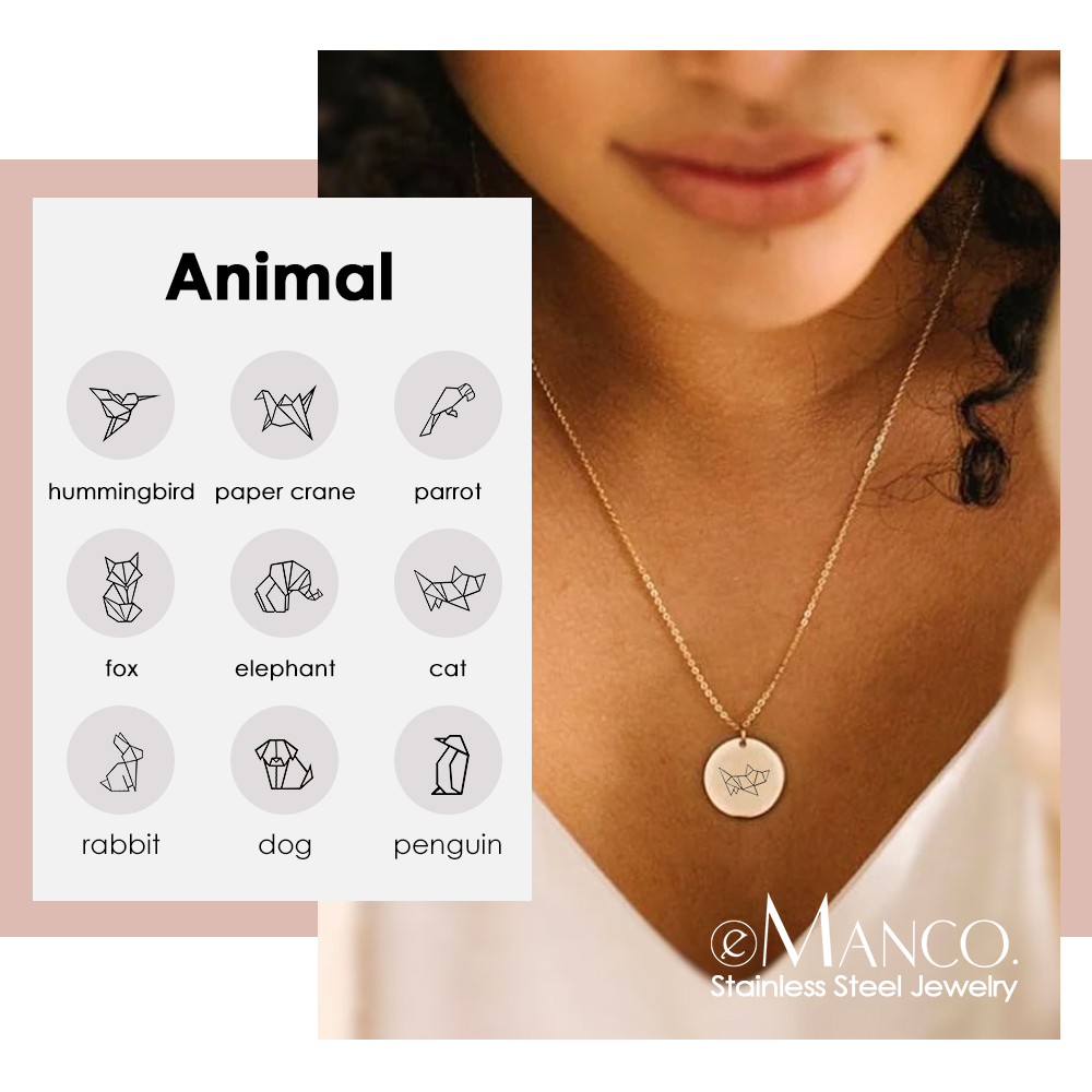 eManco Hummingbird Pendant Necklace women Gold Color 316L Stainless Steel Necklace for women Minimalist Fashion Jewelry
