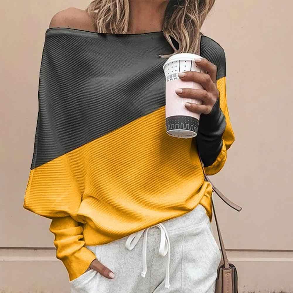 Suéter de talla grande para mujer con mangas de murciélago otoño con hombros descubiertos suéteres de punto para mujer retales de punto Suelto