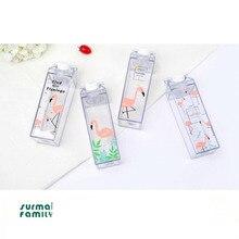 Mini Cute Water bottles Milk Box Shape Transparent Plastic Cartoon pink panther Drink Bottle Coffee Beer Drinkware