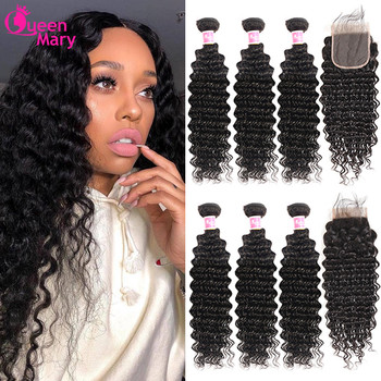 Brazilian Deep Wave Bundles With Closure Non Remy Human Hair 3 and 4 Bundles With Lace Closure Queen Mary Human Hair Extensions 1