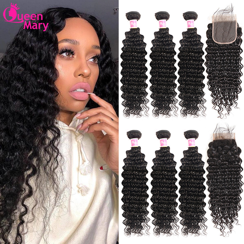 Brazilian Deep Wave Bundles With Closure Non Remy Human Hair 3 and 4 Bundles With Lace Closure Queen Mary Human Hair Extensions title=
