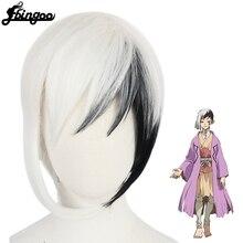 【Ebingoo】New Arrival Anime Dr.Stone Cosplay Asagiri Gen Black White Costume Wig Heat Resistance Fiber Men's Synthetic Hair