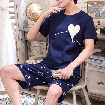 Pajama Sets Men Summer Short Sleeve Tops Shorts Summer Cotton Pajamas Home Suit Mens Sleepwear Loose Nightwear 2pcs/set