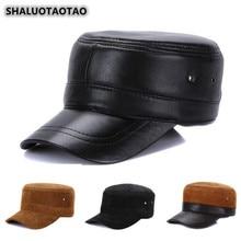 SHALUOTAOTAO Men's Flat Cap Adjustable Size Genuine Leather Hat Snapback Autumn Winter Fashion Sheepskin Military Hats For Women's Elegant Personality Trend Brands Casual Tongue Caps Unisex цена