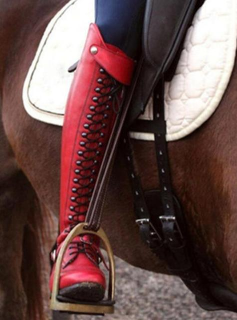 Womens Stylish Leather Equestrian Riding Boots  3