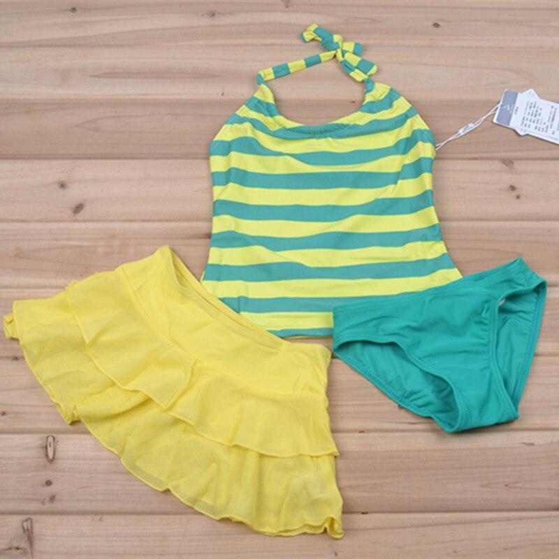 Closeout Special Offer HaoShou Brand Shoppe Genuine Product KID'S Swimwear Girls Split Skirt-Stripes Cute Camisole