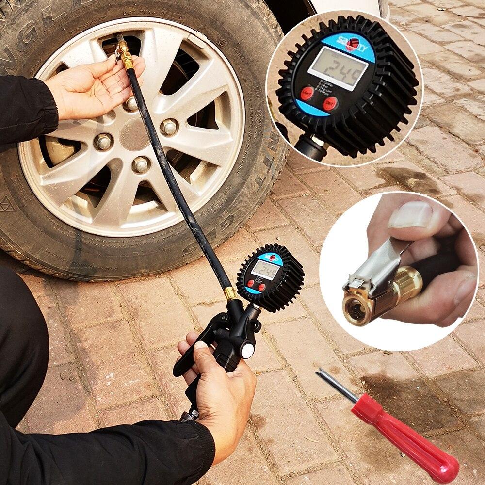 Car Vehicle LCD Digital 0-220PSI Air Tire Pressure Truck Inflator Gauge Dial Meter Tester Manometer Measuring Instrument