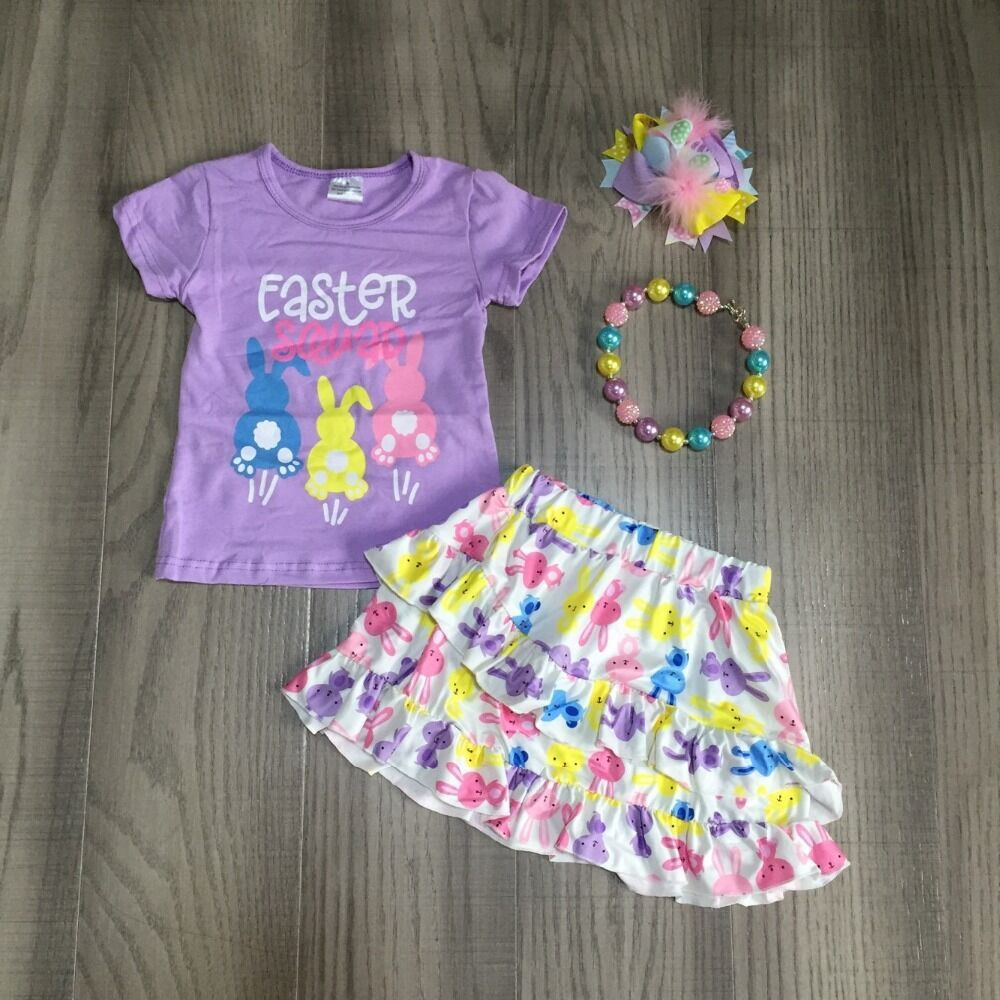 Baby Girls Easter Outfits Girls 3 Colors Bunny Shirt With Wave Short Dress Girls Cute Outfit With Accessories