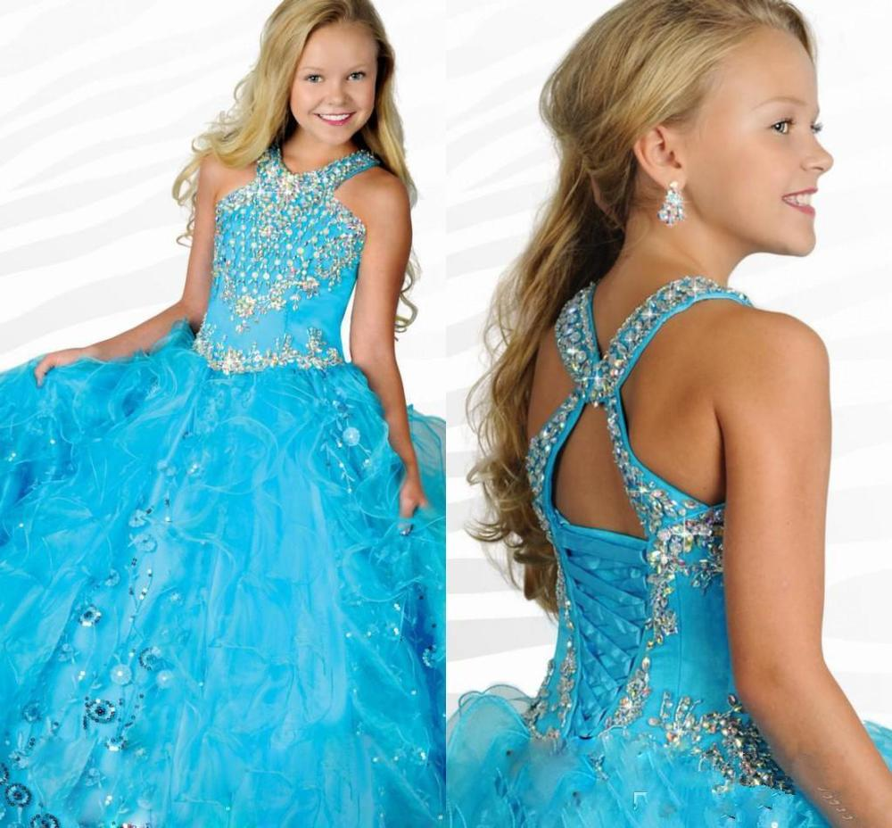 Turquoise Girls Pageant Dresses Ball Gown Halter Organza Beaded Crystals Long Flower Girl Dresses For Weddings Little Girls