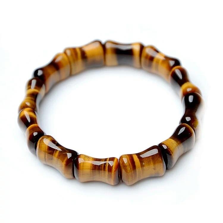 Tiger Eye Bamboo Shape Beads Bangles & Bracelets Handmade Jewelry Energy Bracelet