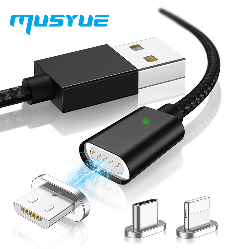 Musyue Magnetic Cable for iPhone Samsung Huawei Xiaomi Note 7 Pro USB Type C Magnet Charger Micro Charing