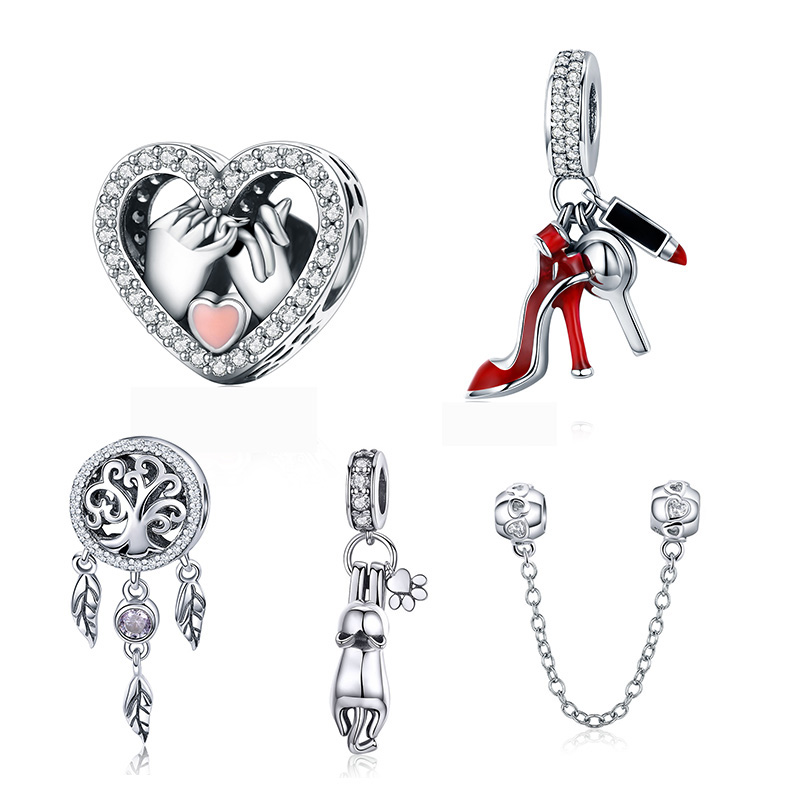 WOSTU Family Heart Charm High heels Mirror Makeup Pendant Charm Dreamcatcher Beads For Jewelry Making Copper Zircon(China)
