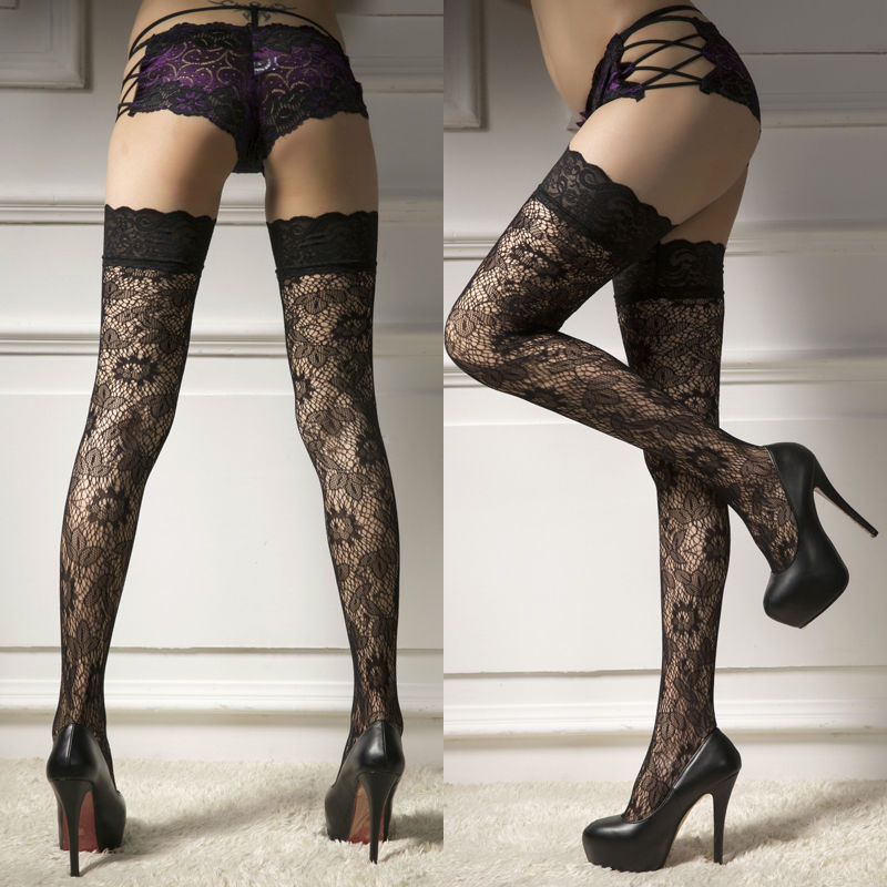 Brand New Sexy Stockings Casual Women Ladies Ultra Thin Sheer Lace Top Stay Up Over Knee Thigh High Silk Stockings Pantyhose