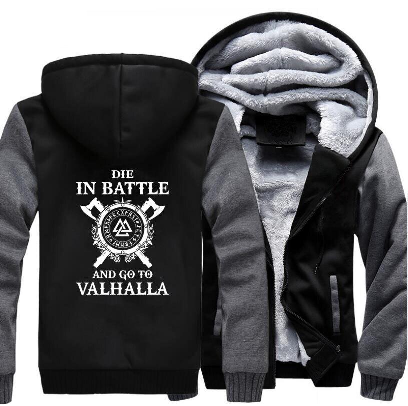 Odin Vikings Hoodie Men Die In Battle And Go To Valhalla Hooded Sweatshirt Coat 2020 Winter Warm Fleece Black Grey Jacket Men's
