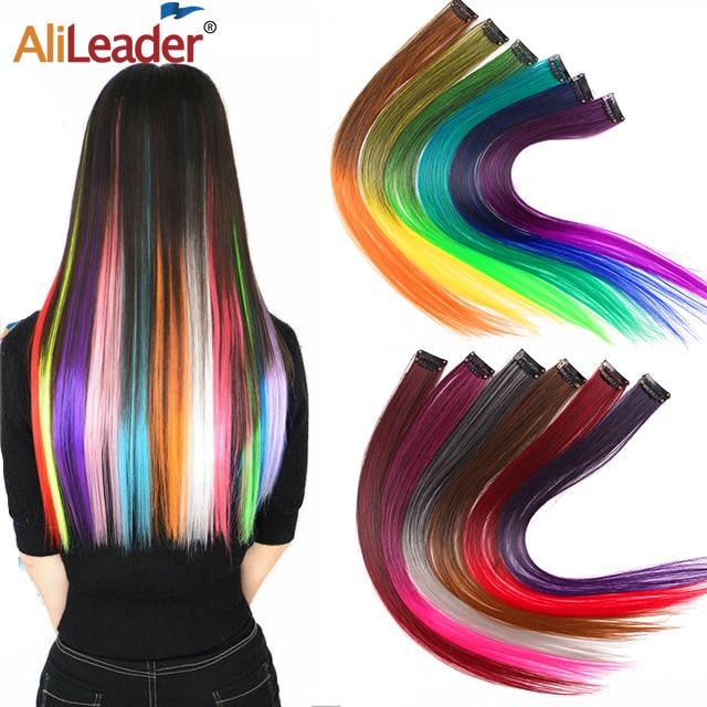 Alileader дешевые волосы на одной заколке Синтетические длинные прямые волосы на заколках для наращивания Омбре на одной заколке поддельные во...