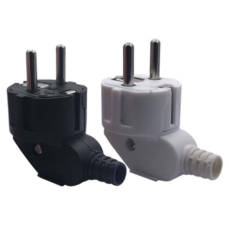 Black White 90 Degree Elbow Connector 250v 10a 16a French Russia Korea Germany Thailand Power Cord Wired Cable Plug