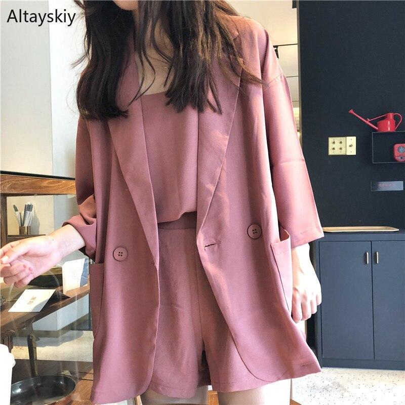 Blazers Women Loose Simple All-match Thin Three Quarter Sleeve Solid Kawaii Korean Style Blazer Womens Elegant Ladies Coats Chic