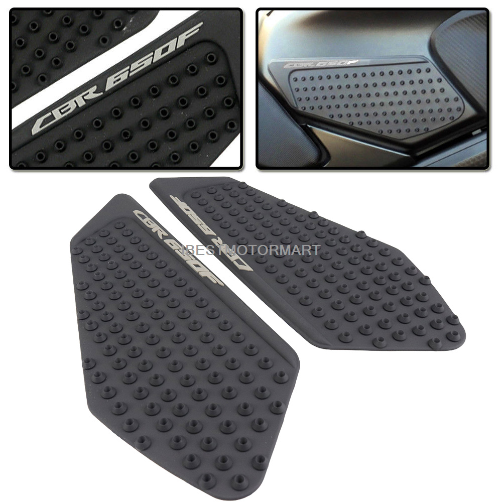For 14-17 <font><b>Honda</b></font> CBR650F <font><b>CBR</b></font> <font><b>650F</b></font> 2014-2017 Anti Slip <font><b>Tank</b></font> <font><b>Pads</b></font> Side Gas Knee Grip Traction <font><b>Pads</b></font> Protector Sticker + 1x Decal image