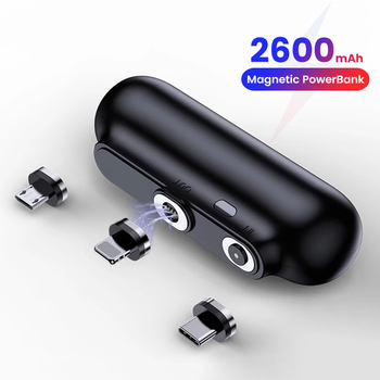 cylinder shaped external 6000mah emergency power battery charger for iphone cell phone silver For iPhone 12 Magnetic Power Bank 2600mAh Mini Magnet Charger Power Bank For Xiaomi Emergency Portable Magnetic External Battery