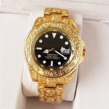 Хип хоп большой бренд мужские часы роскошный сплав ремешок Дата