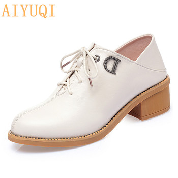 AIYUQI Shoes Ladies Spring 2020 New Genuine Leather Shoes Women Large Size 41 42 43 Fashion Rhinestone Women Shoes