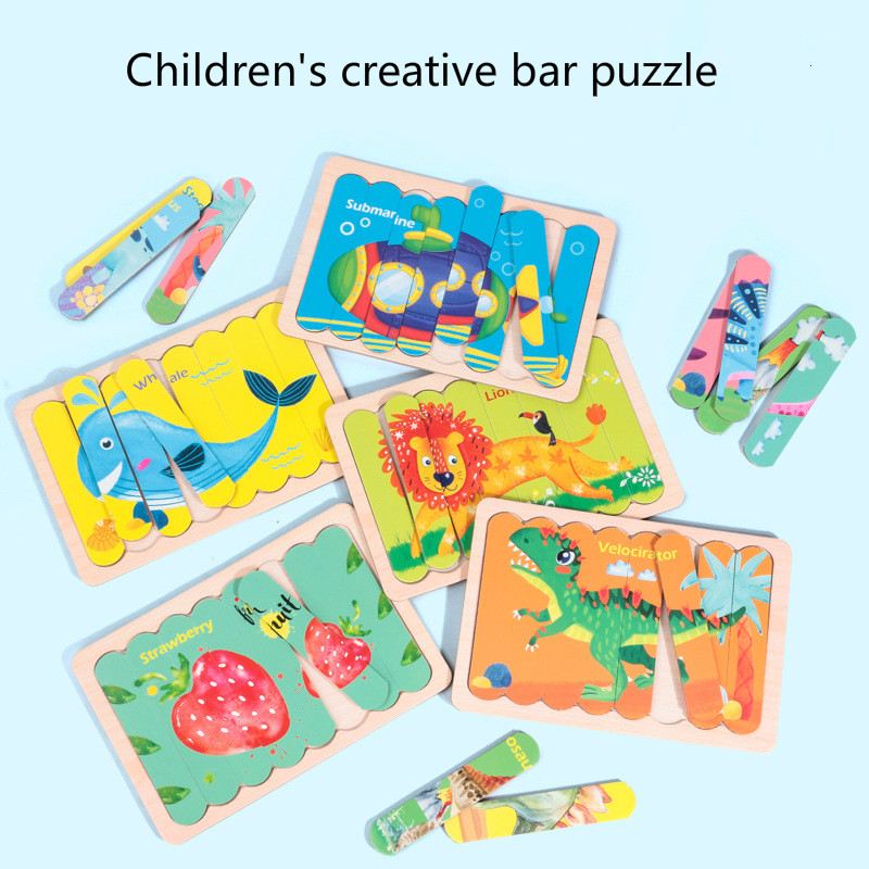 New Product Hot Selling Children's Creative Bar Puzzle 3D Animal Traffic Matching Puzzle Early Education Educational Toys