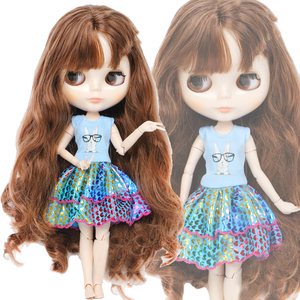 Handmade Fashion Dress for Blythe Doll 11.5'' Blue Cute Cartoon Rabbit Pattern Daily Wear Gown Doll Clothes Accessories Toy(China)