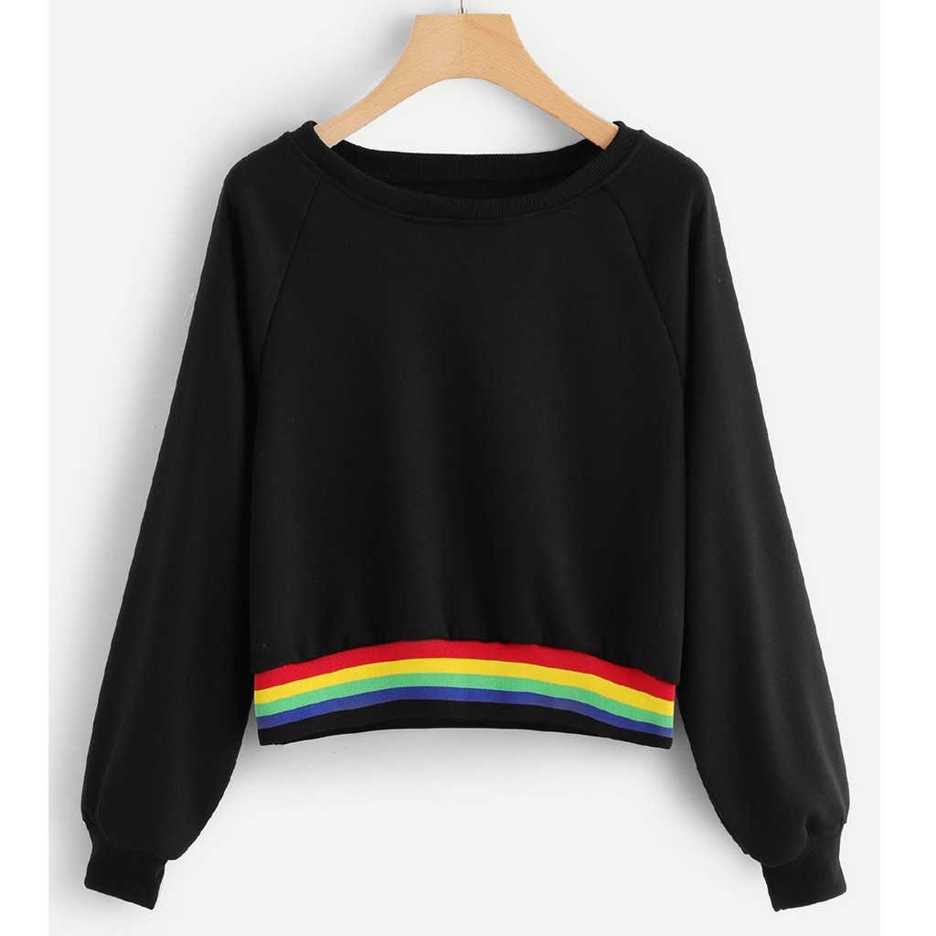 Womens Autumn Blouse Winter Solid Rainbow Stitching Batik Long Sleeve Sweatershirt Tops Blouse Patchworw Fall Girl Ladies 801