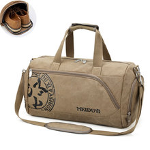 Vintage Canvas Travel Handbag Men Sport Carry On Luggage Shoulder Bags Retro Printing Weekend Suitcase With Shoe Storage S035 недорого