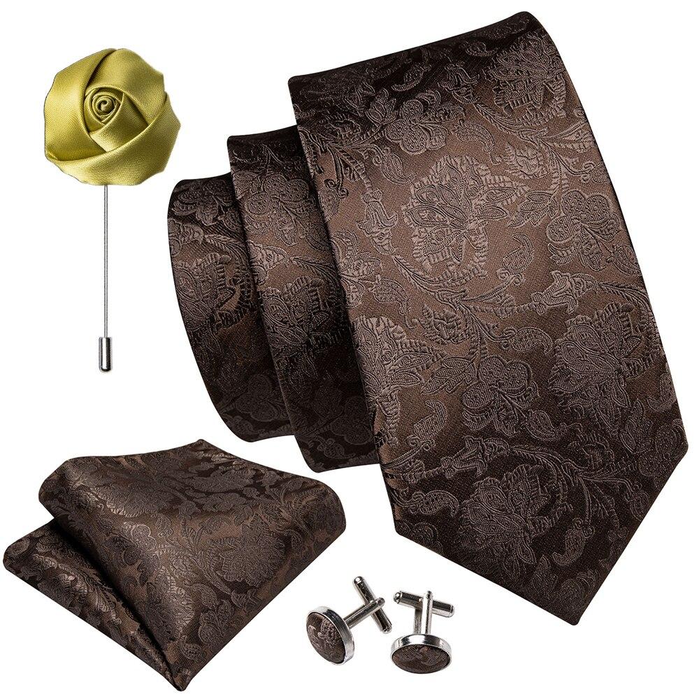 Mens Wedding Tie Brown Paisley Solid Silk Neck Ties For Men Gravat Handkerchief Cufflink Brooch Set Barry.Wang Designer FA-5507