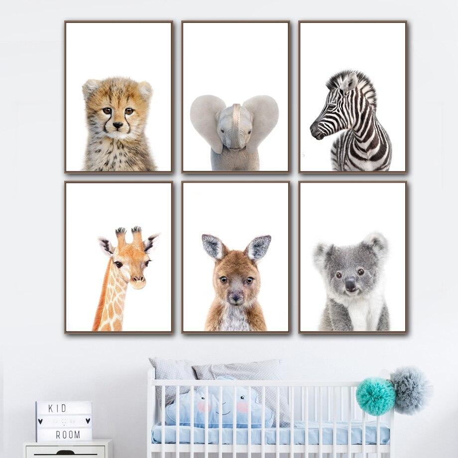 Animal Koala Giraffe Zebra Canvas Poster Nursery Wall Art Print Baby Room Decor