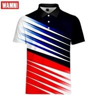 Wamni tênis de alta qualidade topos & t camisas masculinas camisas masculinas 3d turn-down colarinho dos homens camisa de secagem rápida