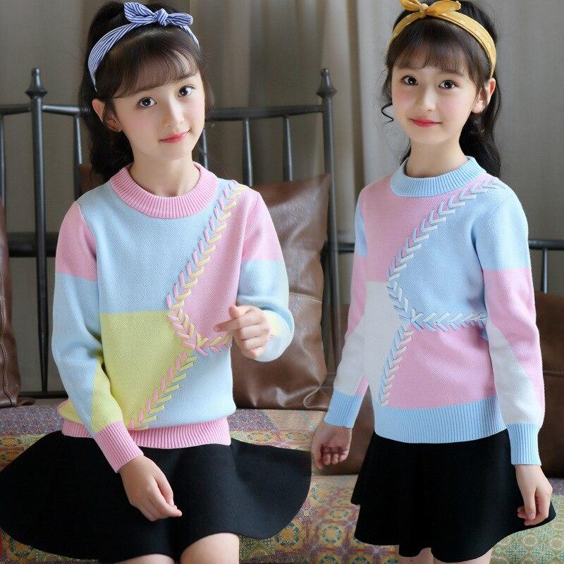 Patchwork Warm Outerwear Girls Sweaters Cartoon Cardigan Jumper Autumn Winter Kids Knitted Pullovers Children Clothes