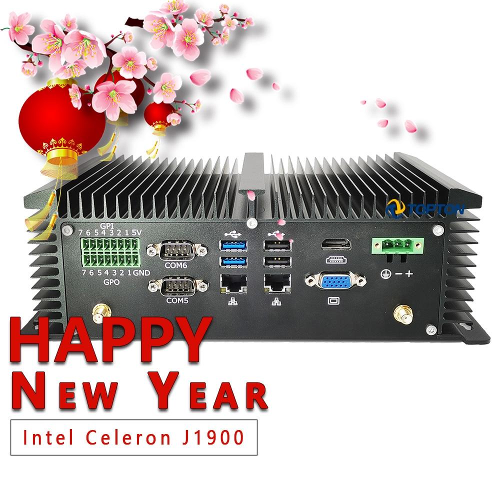 Fanless Mini PC Desktop PC Mini Industrial Computer Intel J1900 Processor 6*RS232 COM 2*Lan 8*USB GPIO LPT PS/2 HDMI VGA 4G WiFi