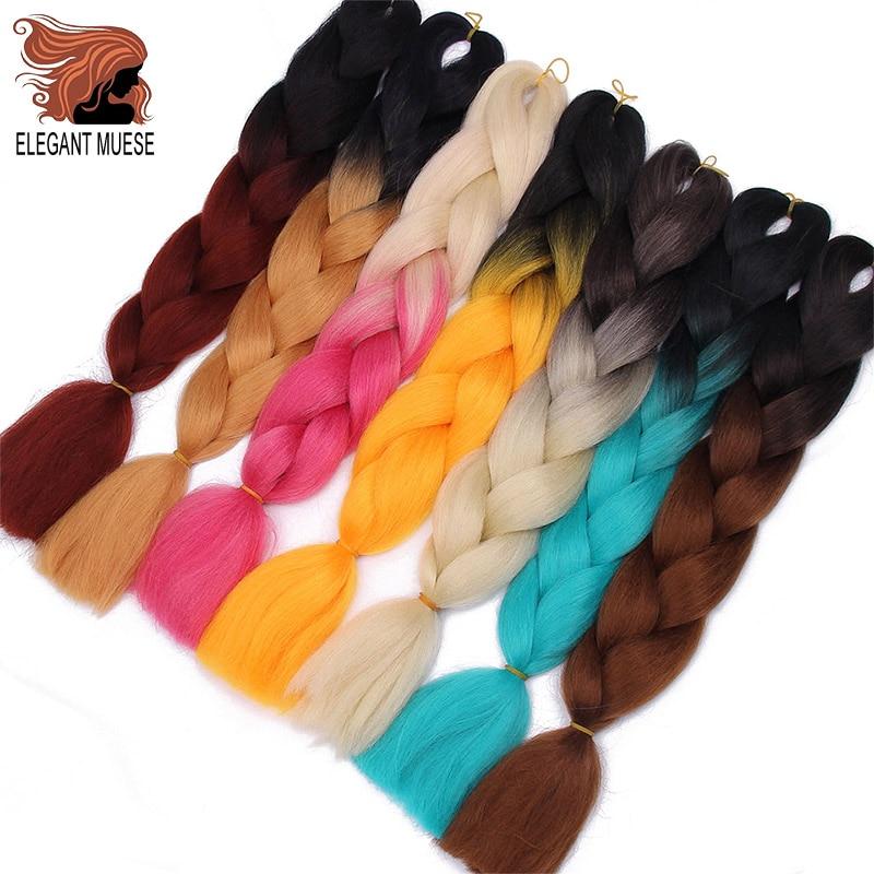 ELEGANT MUSES 24 Inch  Long Ombre Braiding Hair Jumbo Braid Crochet Hair 100g 24inch Synthetic Hair Extensions Jumbo Braids
