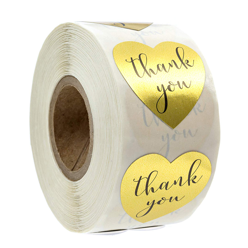 500pcs/roll Round Foil Gold Heart Shape Thank You Stickers Seal Labels Scrapbook For Gift Packaging Cute Stationery Sticker