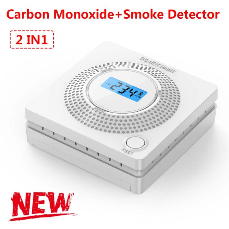 2 in 1 LCD Display Carbon Monoxide & Smoke Combo Detector Home Security CO Alarm with LED Light Digital Voice Warning